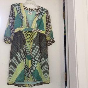 Milly silk long sleeve dress